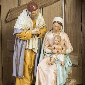 Nativity setting, wooden stable 28x38x28cm s6