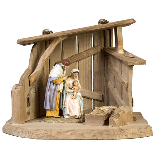 Nativity setting, wooden stable 28x38x28cm 1