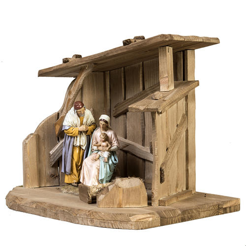 Nativity setting, wooden stable 28x38x28cm 2