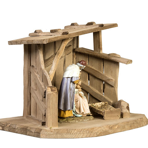 Nativity setting, wooden stable 28x38x28cm 3