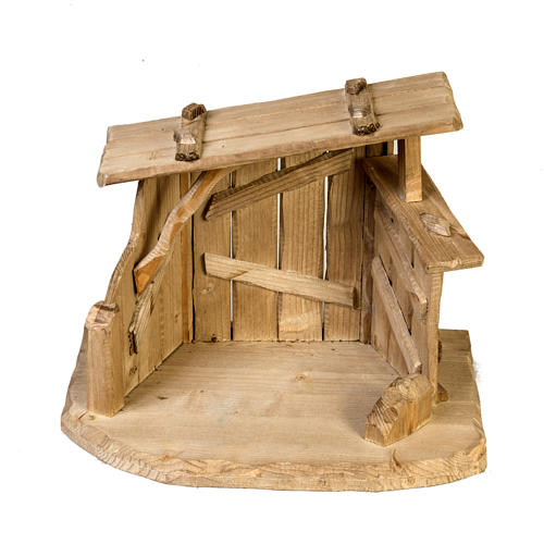 Nativity setting, wooden stable 28x38x28cm 5