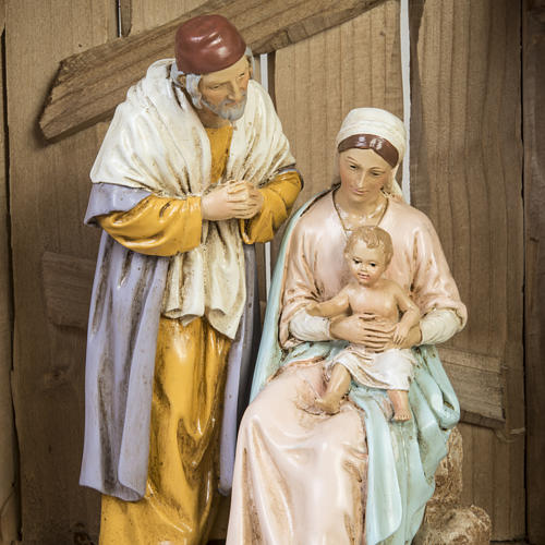 Nativity setting, wooden stable 28x38x28cm 6