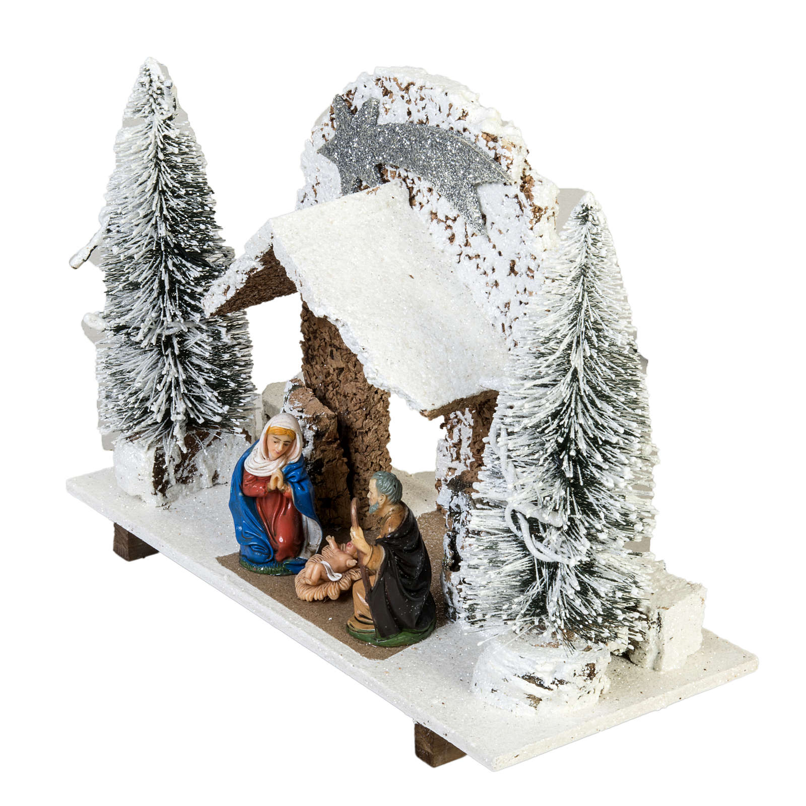 Nativity setting, stable with snow, pines and star 26x36x16cm 4