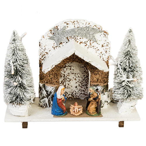 Nativity setting, stable with snow, pines and star 26x36x16cm 1
