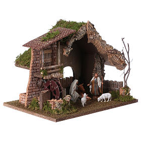 Nativity setting, stable with water mill 28x38x28cm s4