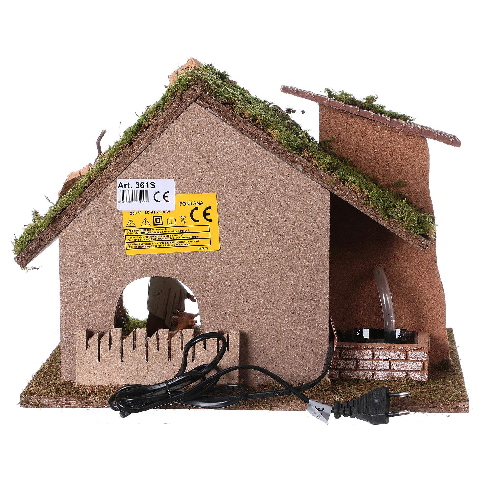 Cabaña con molino de agua para pesebre 28x38x28cm 4
