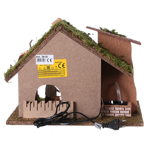 Cabaña con molino de agua para pesebre 28x38x28cm 5