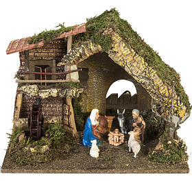 Nativity setting, stable with water mill 28x38x28cm s1