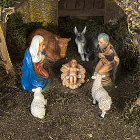 Nativity setting, stable with water mill 28x38x28cm s2