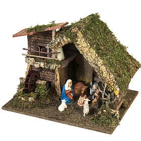Nativity setting, stable with water mill 28x38x28cm s5