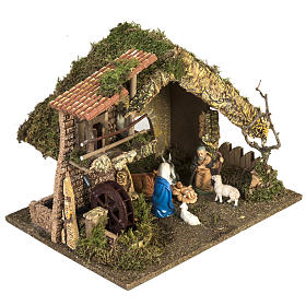 Nativity setting, stable with water mill 28x38x28cm s6