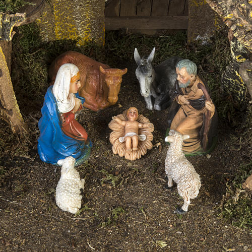 Nativity setting, stable with water mill 28x38x28cm 2