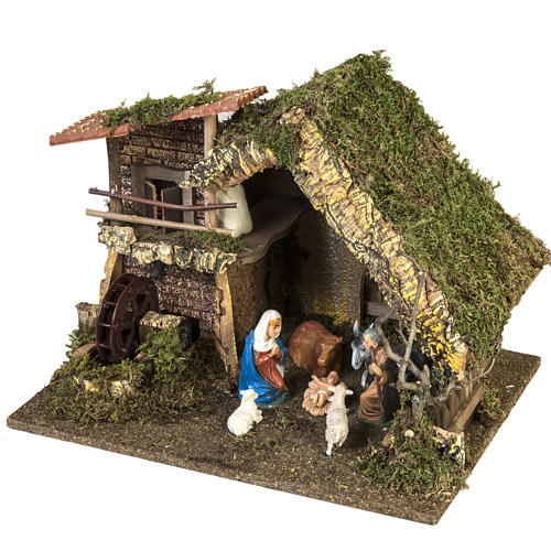 Nativity setting, stable with water mill 28x38x28cm 5