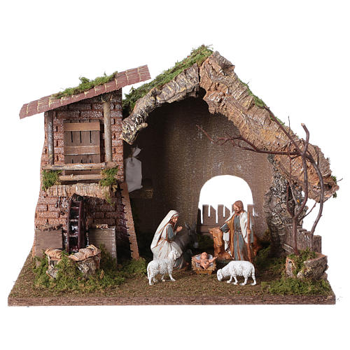 Nativity setting, stable with water mill 28x38x28cm 1