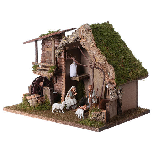 Nativity setting, stable with water mill 28x38x28cm 3