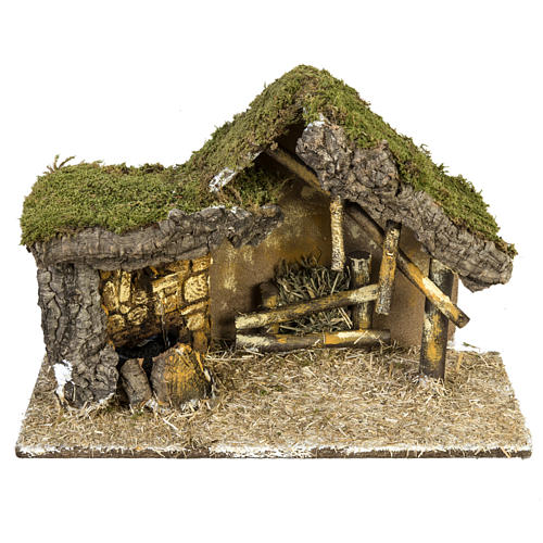 Nativity setting, stable with wooden base 30x42x18cm 1