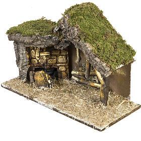 Cabaña con base de madera para pesebre 30x42x18cm s2