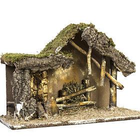 Cabaña con base de madera para pesebre 30x42x18cm s4