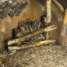 Cabaña con base de madera para pesebre 30x42x18cm s5