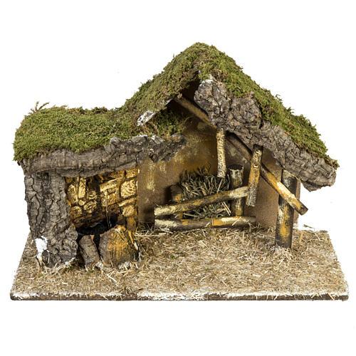 Cabaña con base de madera para pesebre 30x42x18cm 1