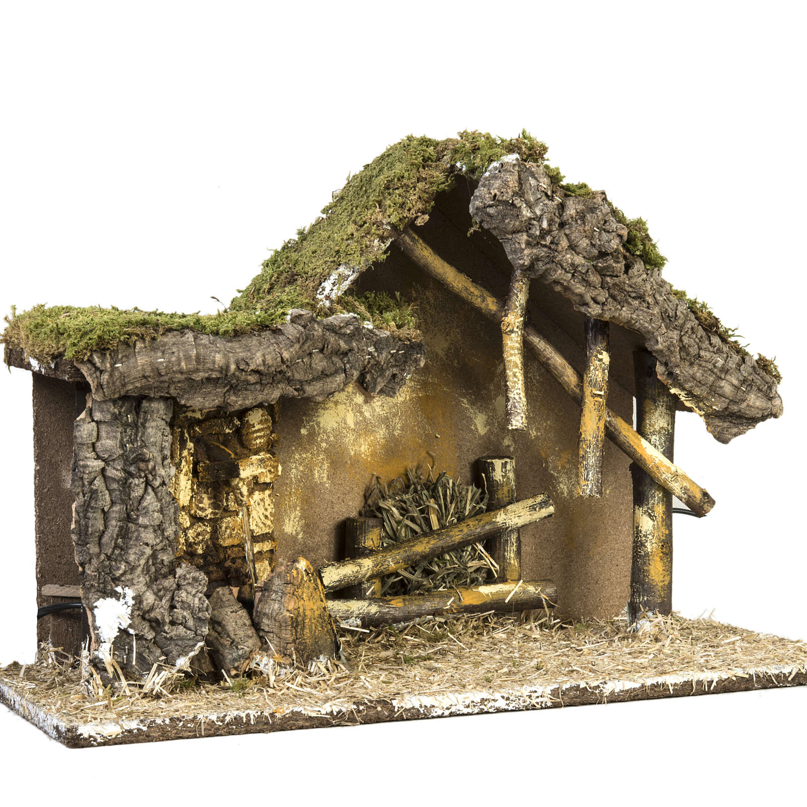 Nativity setting, stable with wooden base 30x42x18cm 4