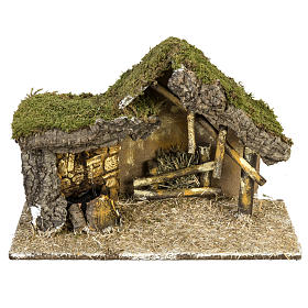 Nativity setting, stable with wooden base 30x42x18cm s1