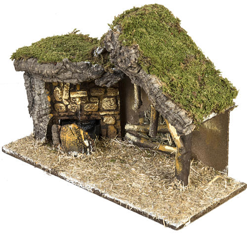 Nativity setting, stable with wooden base 30x42x18cm 2