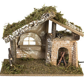 Stables and grottos: Nativity setting, stable with electric fire 26x36x16cm