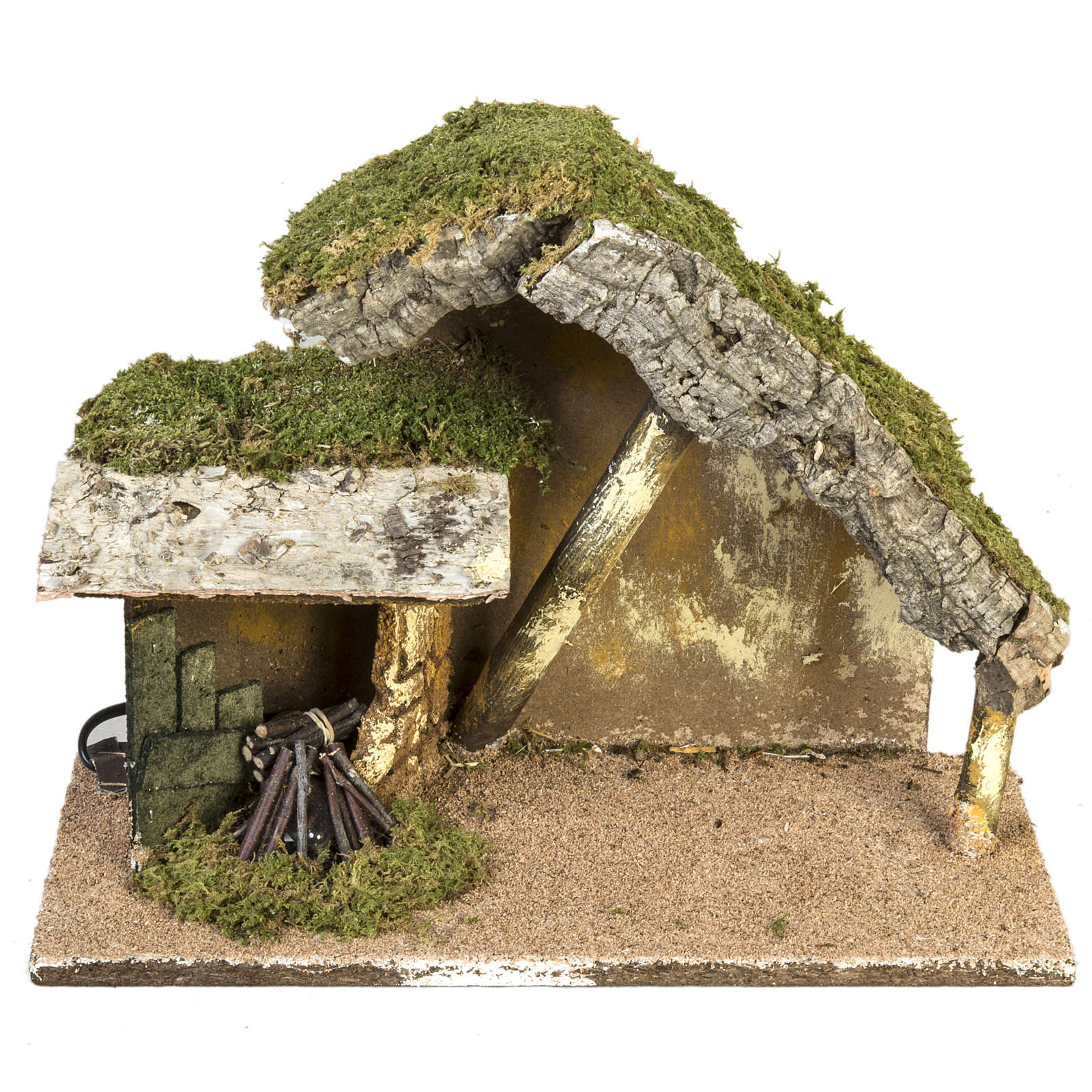 Capanna presepe tettoia e fuoco 26x36x16 cm 4
