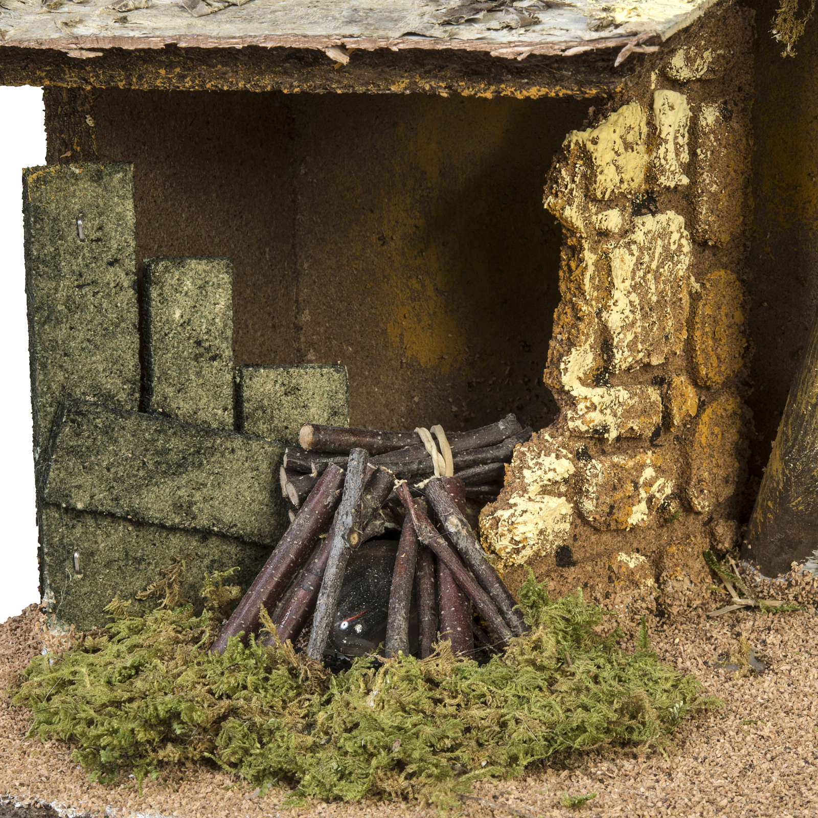 Nativity setting, stable with roof and fire 26x36x16cm 4
