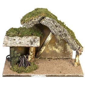 Nativity setting, stable with roof and fire 26x36x16cm s1