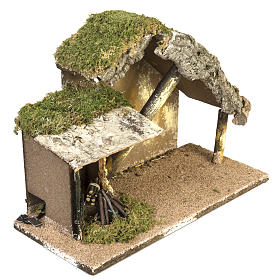 Nativity setting, stable with roof and fire 26x36x16cm s3