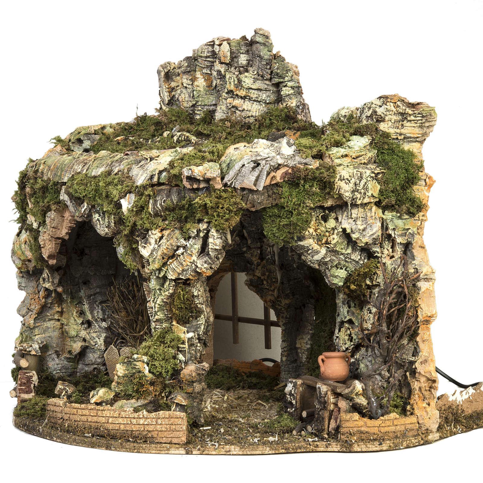 Grotta presepe fuoco e anfora 40x58x38 cm | vendita online