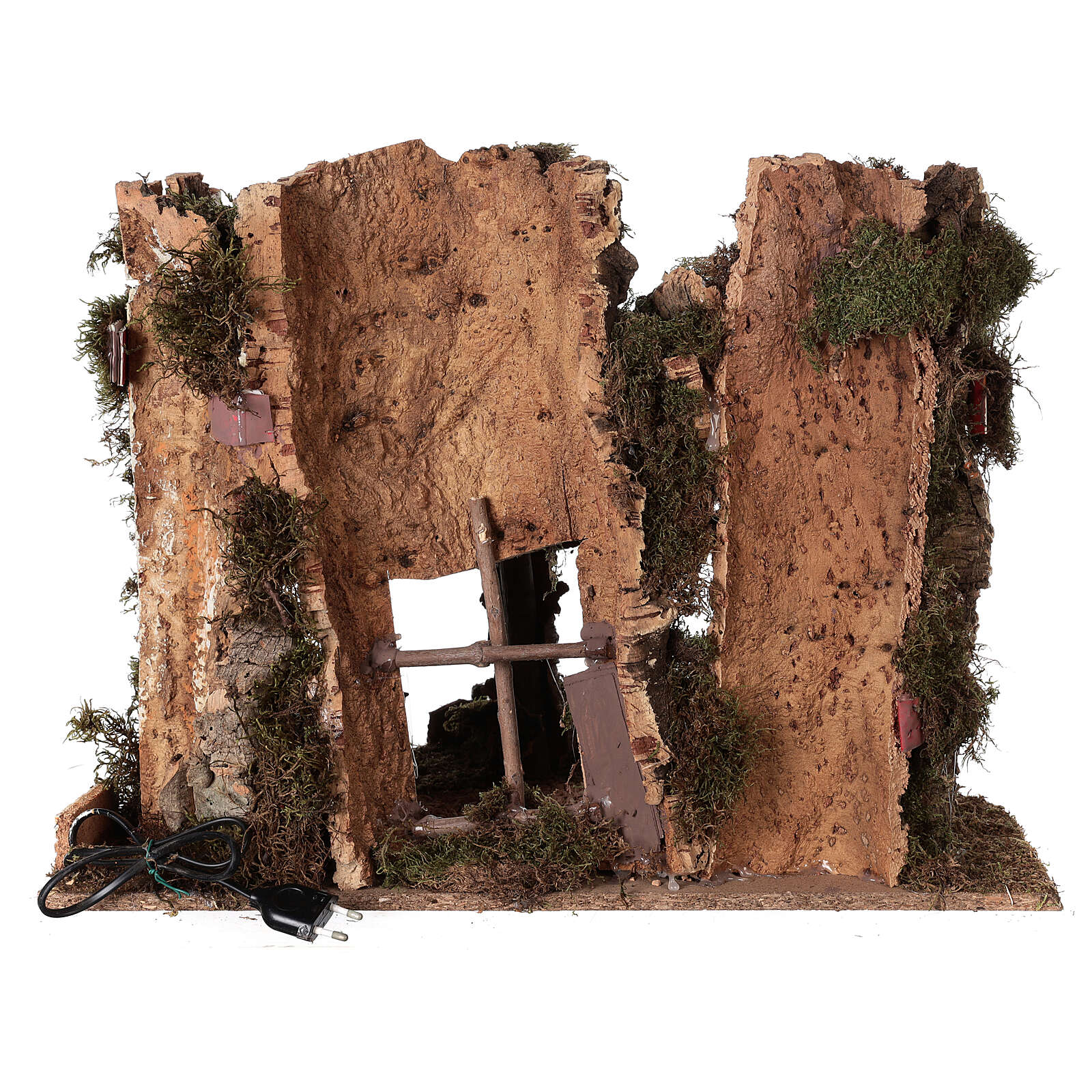 Grotta presepe fuoco e anfora 40x58x38 cm 4