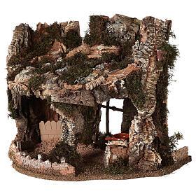 Grotta presepe fuoco e anfora 40x58x38 cm s3