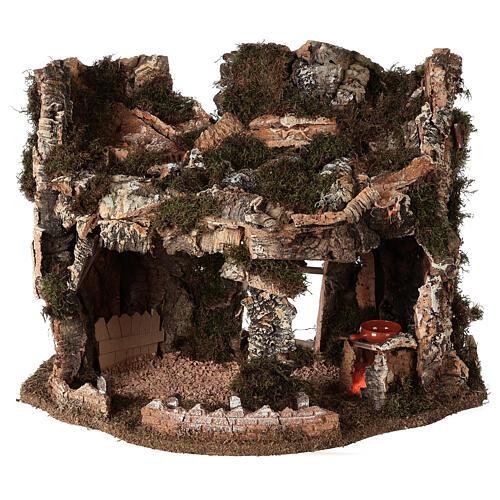 Grotta presepe fuoco e anfora 40x58x38 cm 1