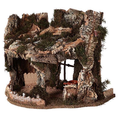 Grotta presepe fuoco e anfora 40x58x38 cm 3