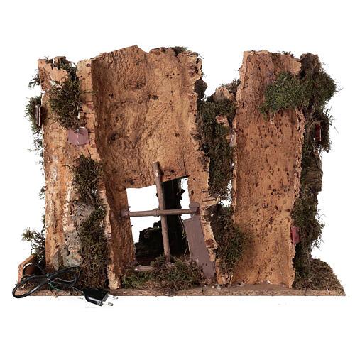 Grotta presepe fuoco e anfora 40x58x38 cm 5