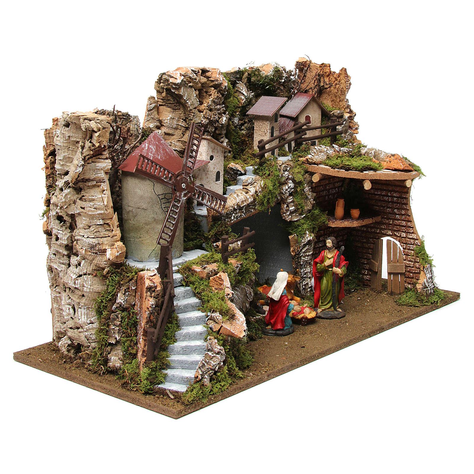 Capanna borgo presepe con mulino a vento 38x56x30 cm 4