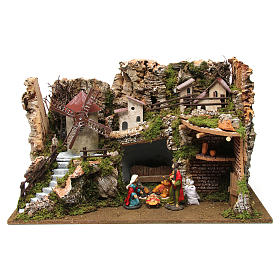 Nativity setting, village with stable and wind mill 38x56x30cm s1