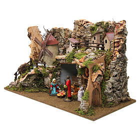 Nativity setting, village with stable and wind mill 38x56x30cm s2