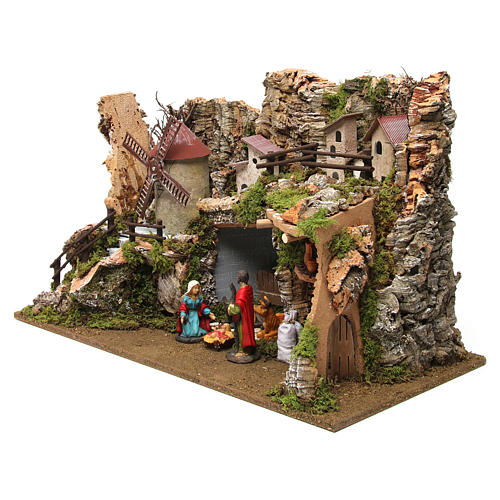 Nativity setting, village with stable and wind mill 38x56x30cm 2