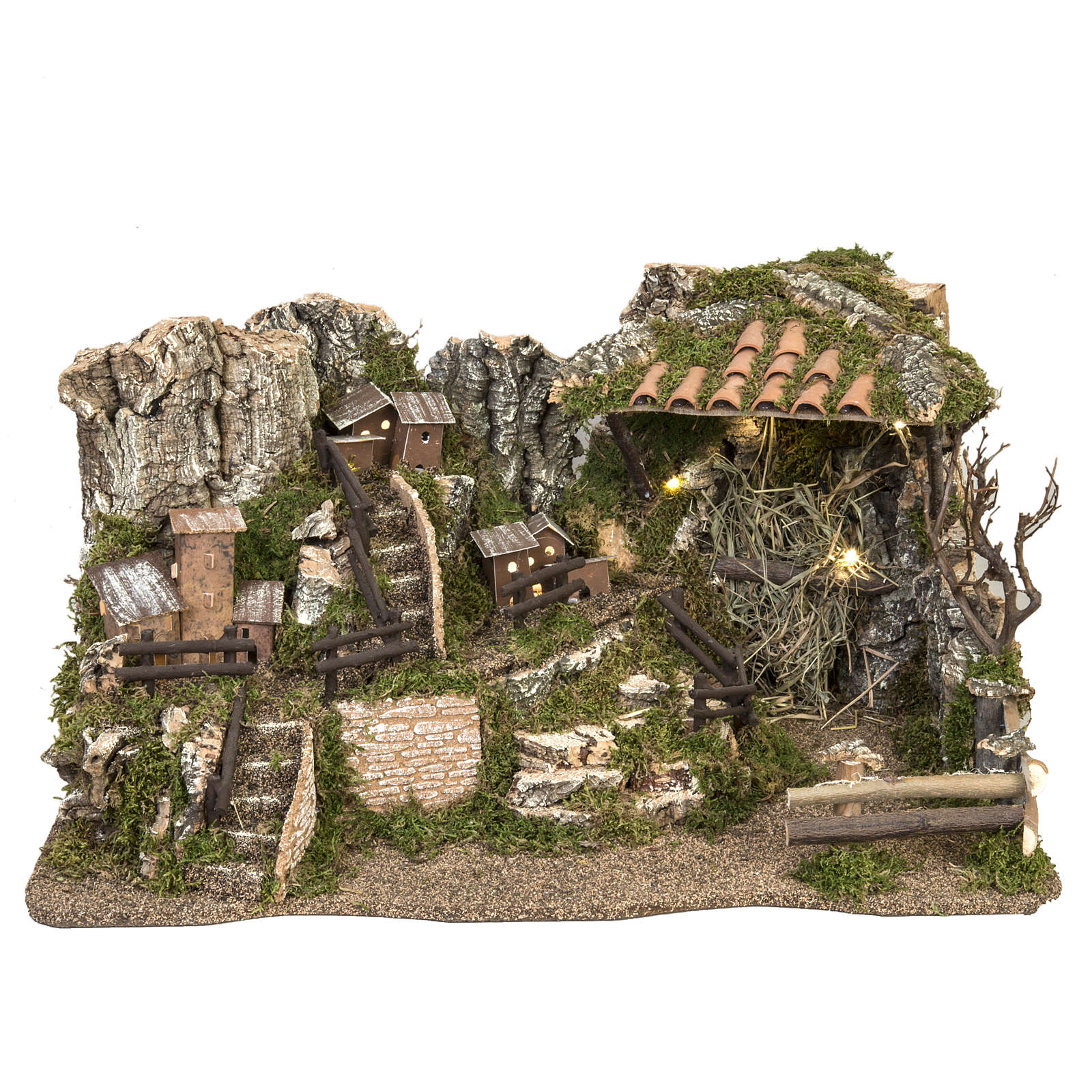 Nativity setting, illuminated village 28x57x27cm 4