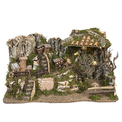 Nativity setting, illuminated village 28x57x27cm 1
