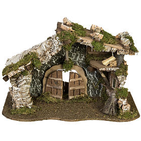Nativity Scene stable with roof and door 32x50x24 cm s1
