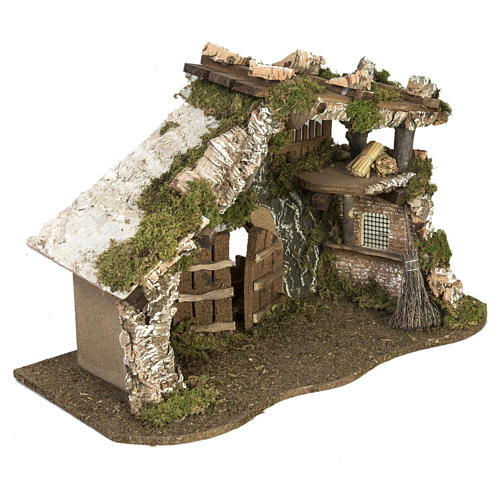 Nativity Scene stable with roof and door 32x50x24 cm 3