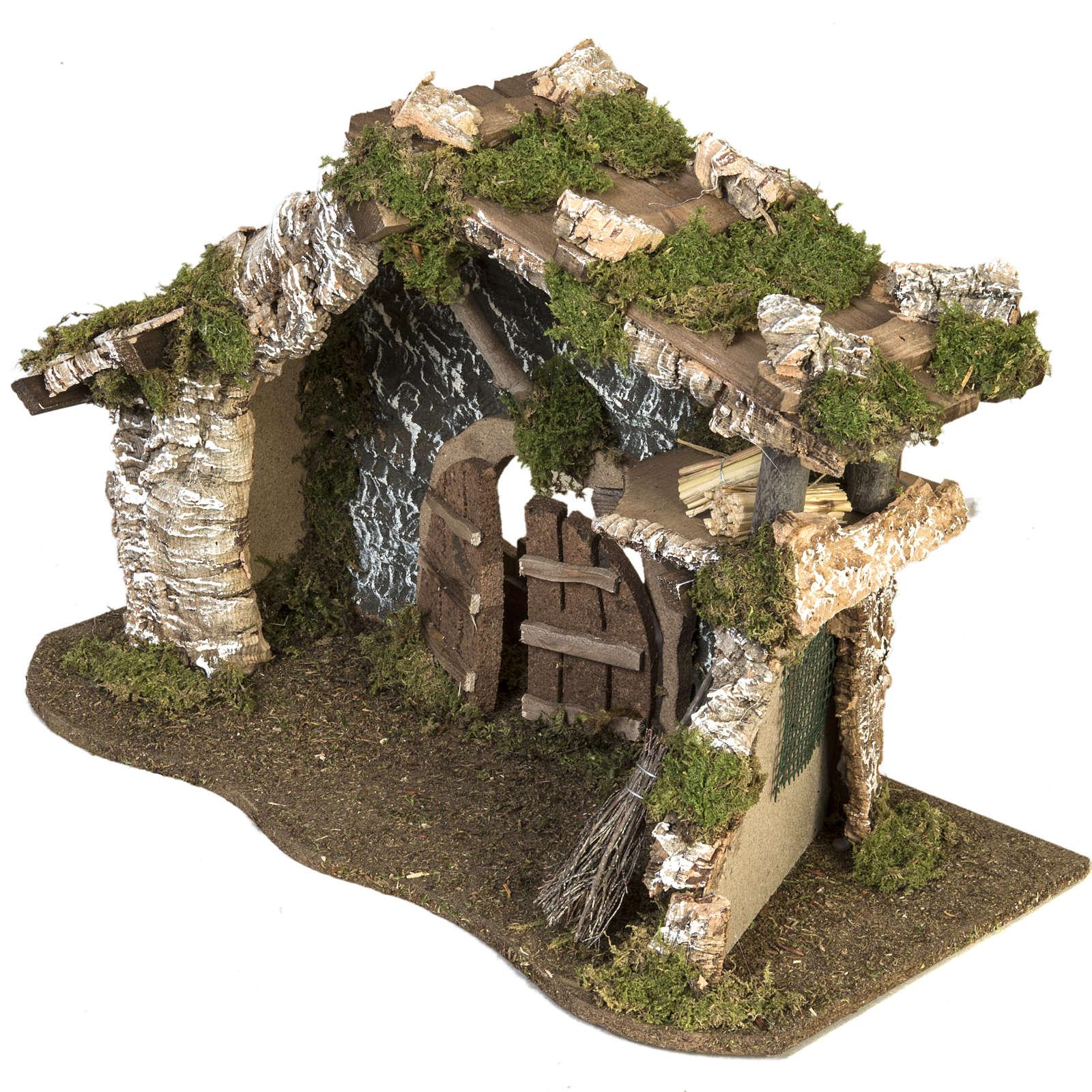 Cabaña con puerta y techo para pesebre 32x50x24cm 4