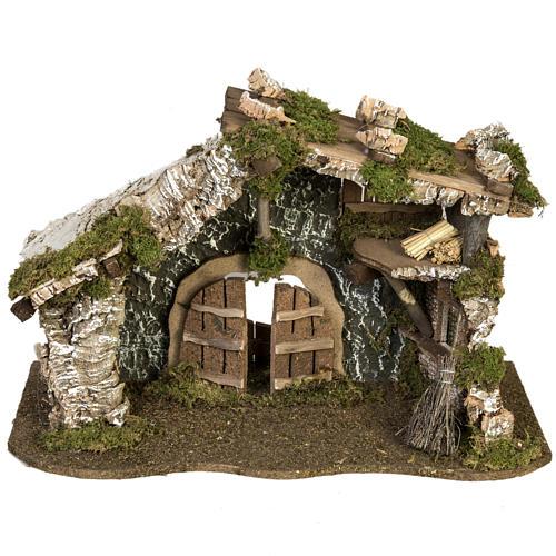 Cabaña con puerta y techo para pesebre 32x50x24cm 1