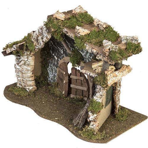 Cabaña con puerta y techo para pesebre 32x50x24cm 2