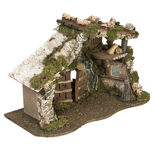 Cabaña con puerta y techo para pesebre 32x50x24cm 3